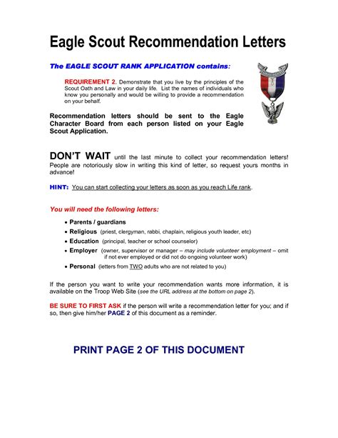 eagle scout recommendation letter template cover letter exle