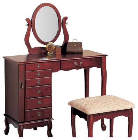 Makeup Dressers Vanity by Traditional Vanity Oval Swivel Mirror Fabric Seat Dresser