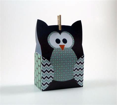 paper bag owl pattern owl gift bag template sea foam brown by littlestuffme