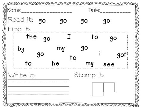 Free Printable Kindergarten Sight Word Worksheets by Sight Word Writing Practice Worksheets Free Printable