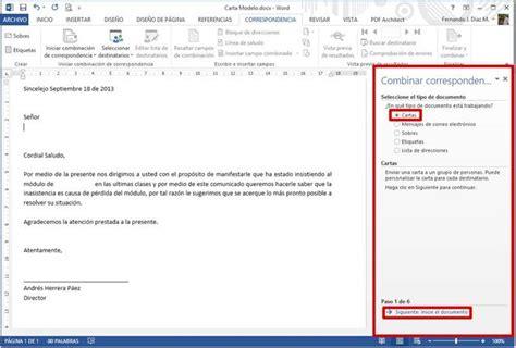 carta para envio de muestras combinar correspondencia en word 2013 monografias