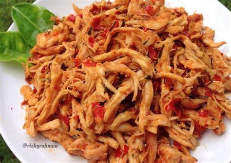 resep ayam suwir pedas bali oleh rizky rahmaa cookpad
