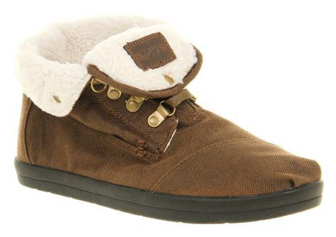 mens toms botas fur lined boot brown fleece casual shoes