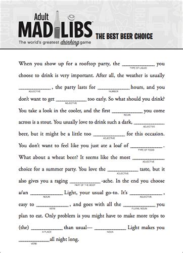 free mad libs for adults