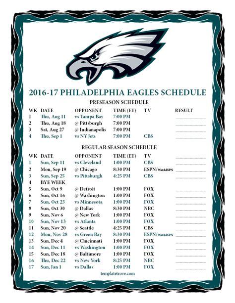 printable eagles schedule 2015 printable 2016 2017 philadelphia eagles schedule