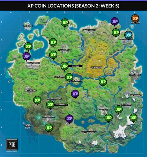 fortnite season  xp coin locations mapa  informacion