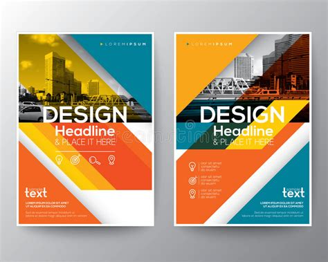 poster design layout download red and orange diagonal line brochure annual report cover