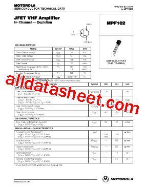 datasheet transistor lifier mpf102 datasheet pdf motorola inc