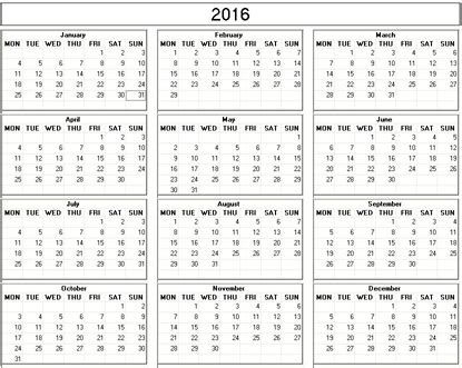 printable calendar easy yearly 2016 printable calendar black and white weekday