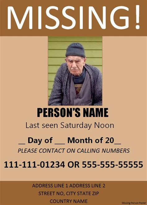 missing flyer template missing person poster template free word s templates