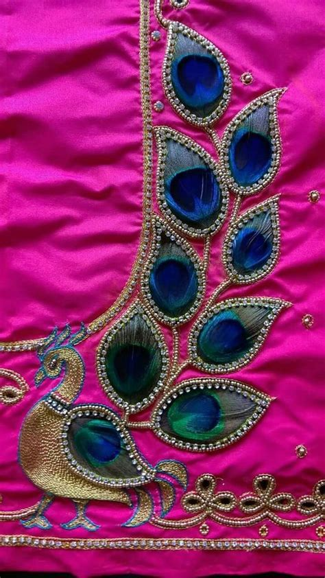 real peacock feather maggam work blouse blouse work
