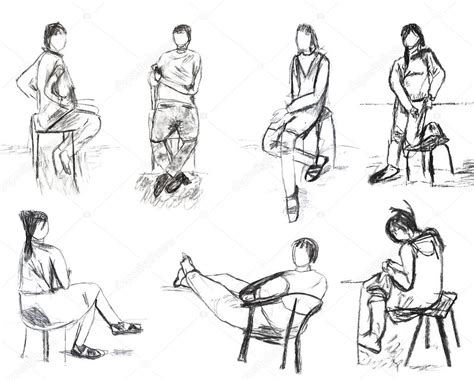 stuhl der seite zeichnen kinder zeichnen skizzen menschen wegen stockfoto