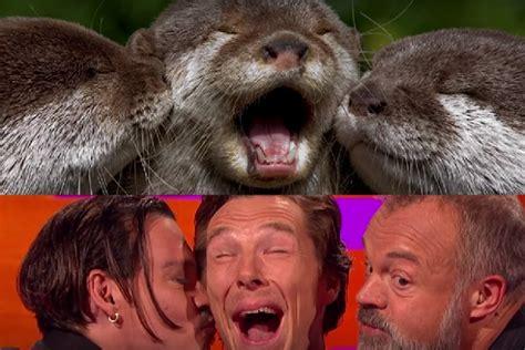 Cumberbatch Otter Meme - benedict cumberbatch imitates otters gets kissed by johnny depp video