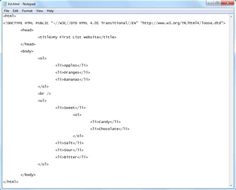 html tutorial ordered list ordered and unordered lists gallery
