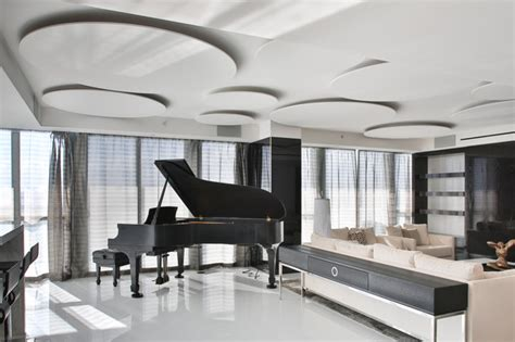 Miami Penthouse Mancave Steinway Piano Contemporary Living Room miami by