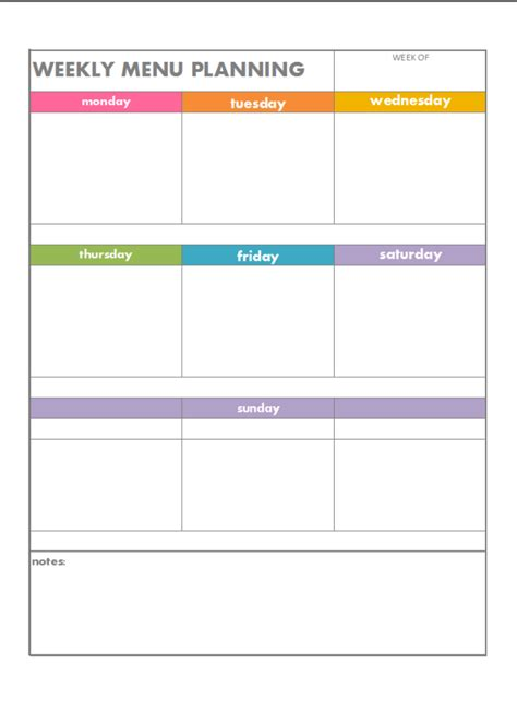 free printable weekly menu planning