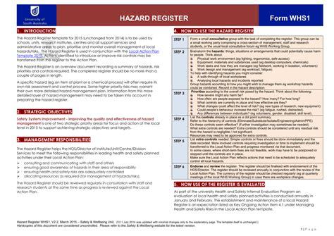hazard risk register template lovely hazard register template contemporary resume