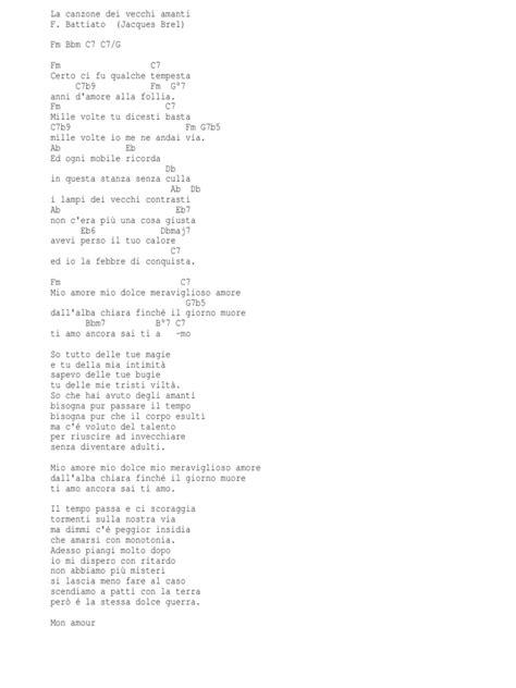 testo la canzone dei vecchi amanti battiato la canzone dei vecchi amanti chords
