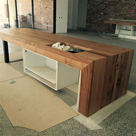 wooden island bench custom made timber bench tops bringing warmth to your