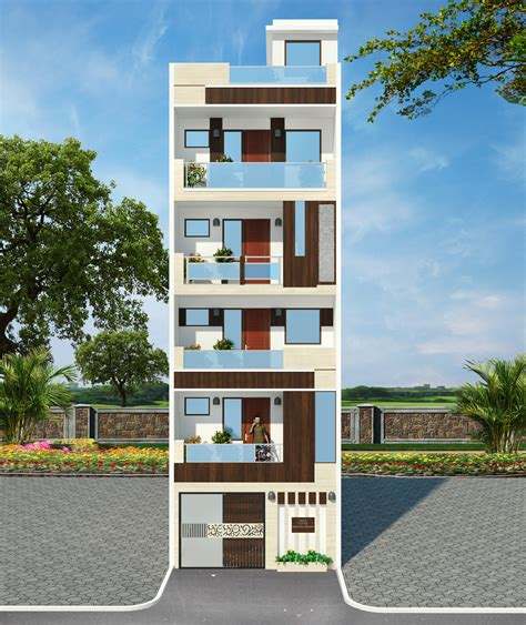4 Floor Building by Front Elevation For 4 Floor Building Thefloors Co
