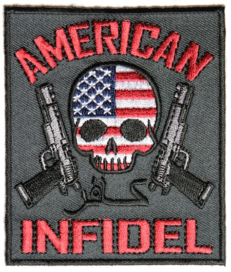 infidel usa american infidel patch with skull arabic