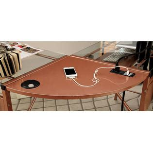 rose gold desk l furniture of america sarea l shaped glass top rose gold
