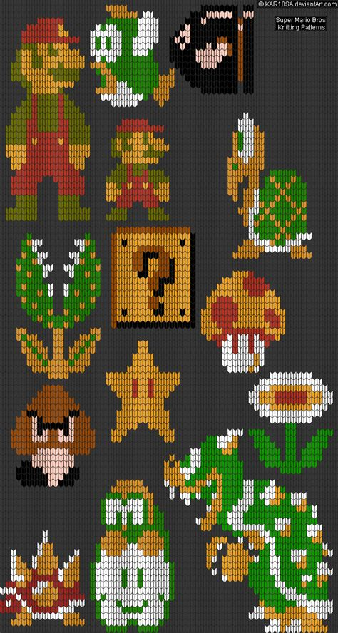 mario knitting patterns nes mario bros knitting patterns by kar10sa