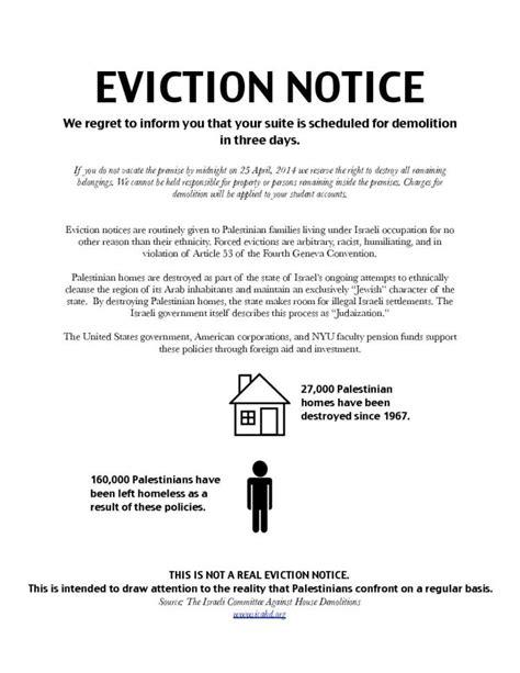 printable eviction notice ny nyu jewish students pro palestinian group s eviction