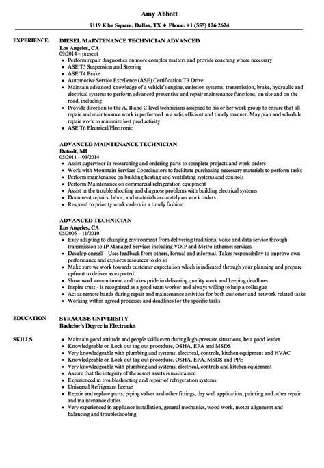 advanced technician resume sles velvet