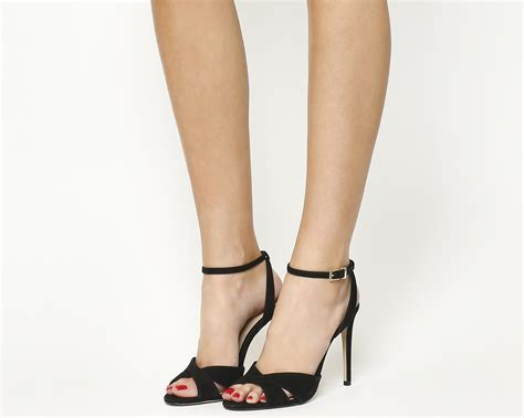 Cross Heeled Sandals office hula cross heeled sandals black nubuck high heels