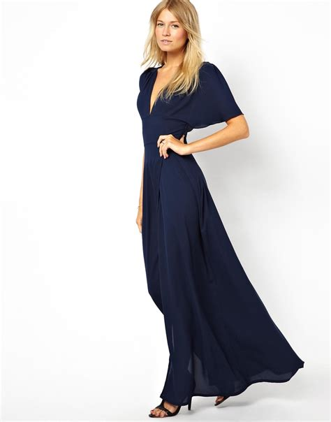 V Neck Fluted Sleeve T Shirt maxi dress with plunge neck and fluted sleeve in blue