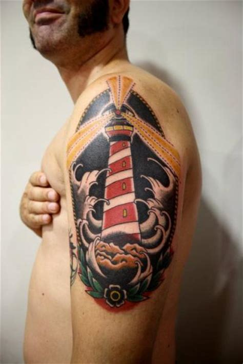 tattoo old school lighthouse shoulder lighthouse old school tattoo by la dolores tattoo
