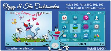 theme nokia x2 cartoon oggy and the cockroaches theme themereflex