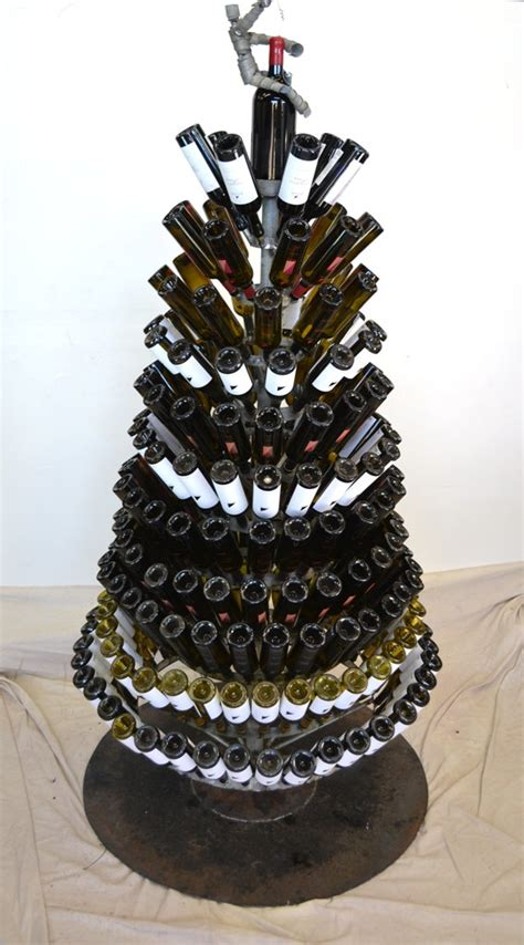 wine bottle christmas tree w wine bot by winecountrycraftsman