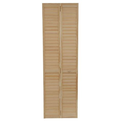Solid Wood Louvered Doors Interior Bay 24 In X 80 In 24 In Plantation Louvered Solid Unfinished Wood Interior