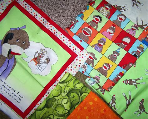 Sock Monkey Quilt Fabric by Fabric Sock Monkey Quilt Contemplation 1 By