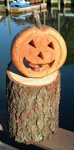 Diy Halloween Pumpkin Crafted From A Firewood Log