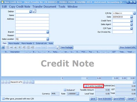 Credit Note Gst Format Autocount With Me Autocount Accounting Version 1 8 012