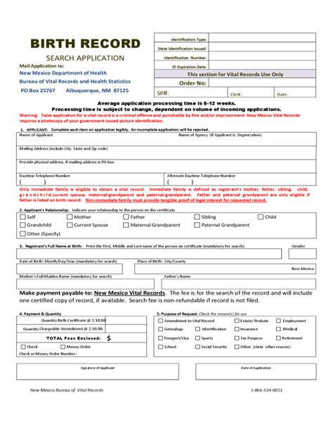 New Mexico Vital Records Birth Certificate Birth Certificate Request Form New Mexico Free