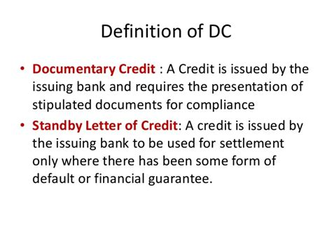 Standby Letter Of Credit Financial Guarantee documentary credit