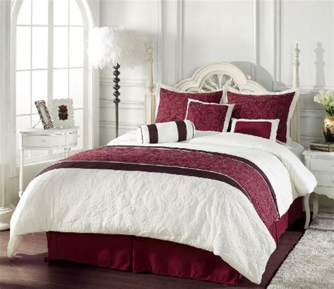 chezmoi bedding chezmoi collection 7 piece burgundy ivory quilted comforter set bed in a bag for