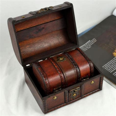 Wooden Pirate Storage Box Vintage Treasure Chest 2pcs wooden pirate jewellery storage box holder vintage treasure chest ebay