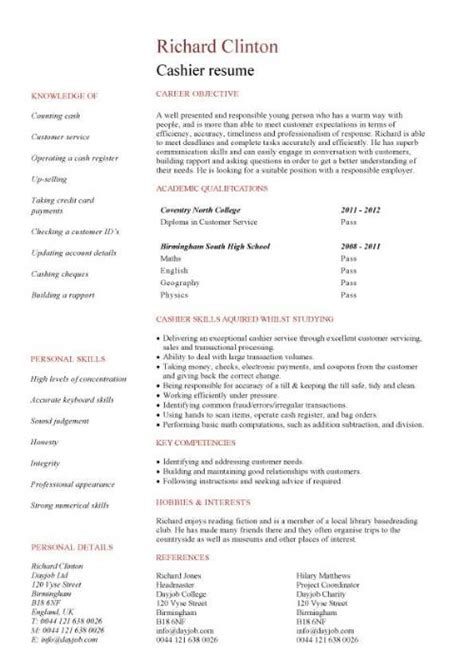 Resume For A Cashier Resume Exles Customer Service Cashier