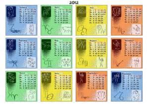 Calendar Signs Calendar 2012 With Zodiac Signs Stock Vector 169 Katsov