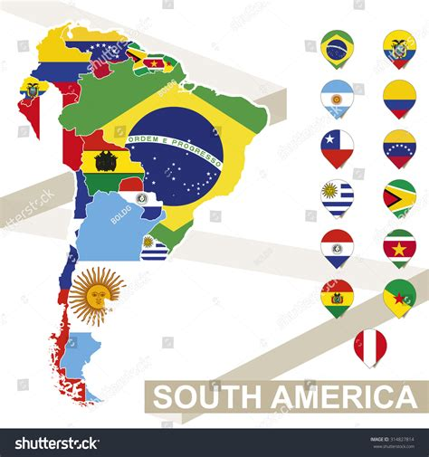 south america map with flags south america map flags south america stock vector