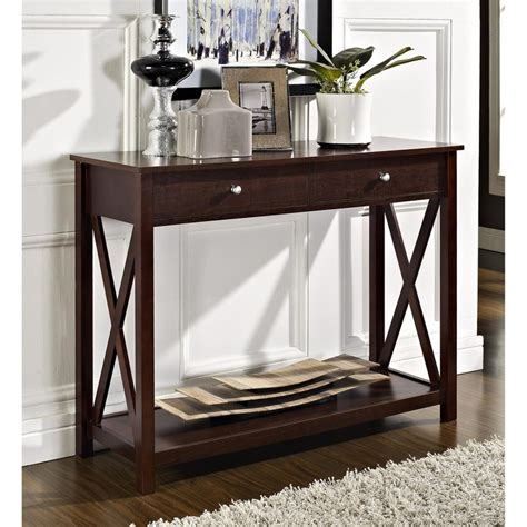 espresso sofa table with drawers espresso x design two drawer console sofa table
