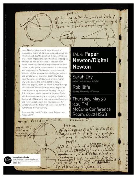 Newton Research Papers by Paper Newton Digital Newton Interdisciplinary Humanities Center Ucsb