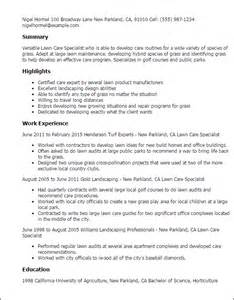 Sample Resume For Lawn Care Worker Professional Lawn Care Specialist Templates To Showcase