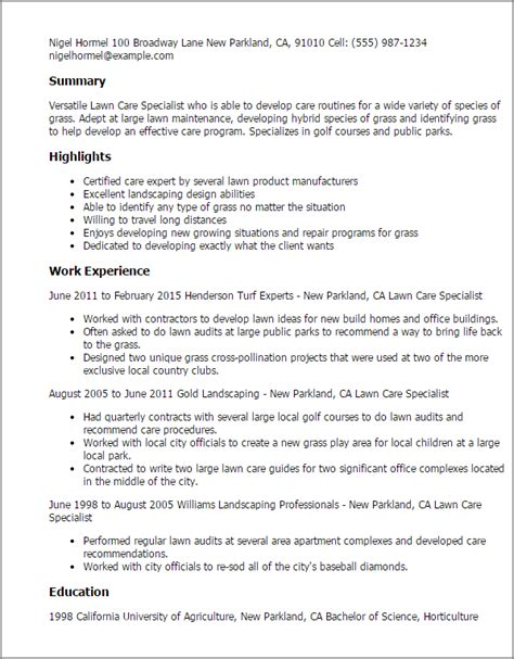 lawn care resume sle resume ideas