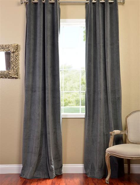 gray black out curtains natural grey grommet velvet blackout curtain contemporary curtains san francisco by half